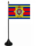 Royal Logistic Corps Desk / Table Flag with plastic stand and base.